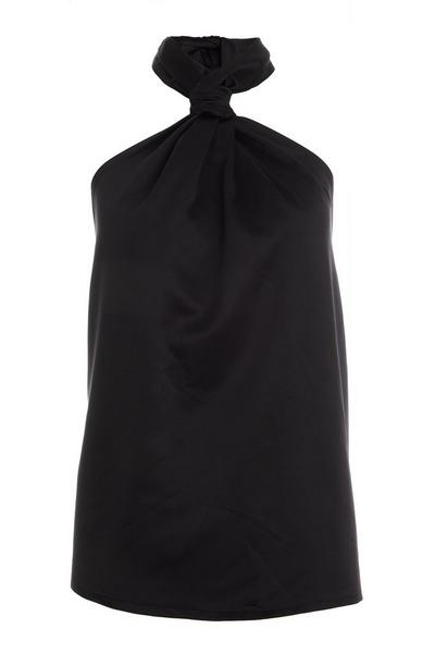Black Satin Halterneck Top