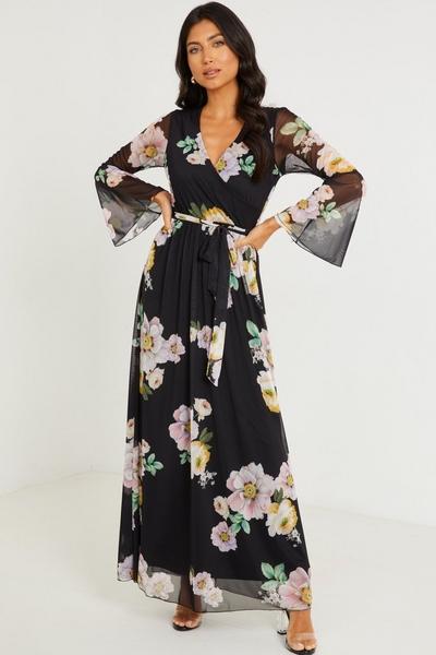 Black Mesh Floral Print Maxi Dress