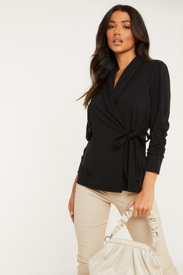 Black Ruched Sleeve Wrap Blazer