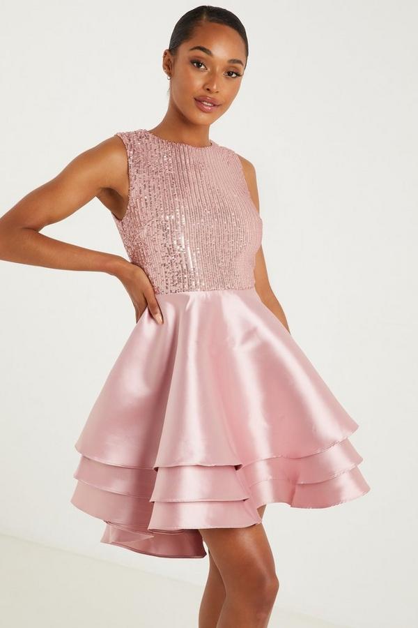 Pink Sequin Dip Hem Dress