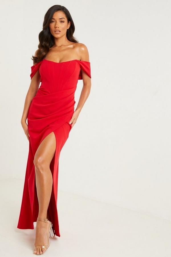 Red Bardot Split Maxi Dress