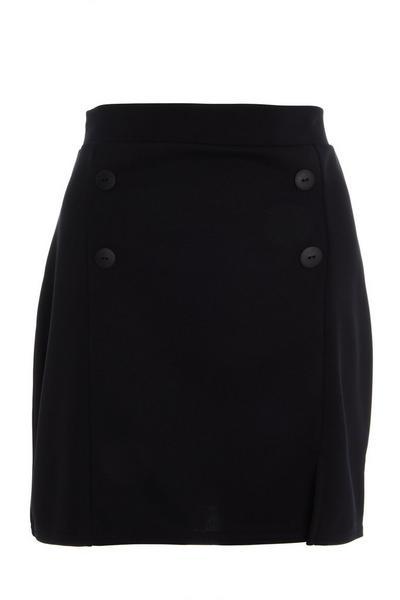 Black Button Front Skirt