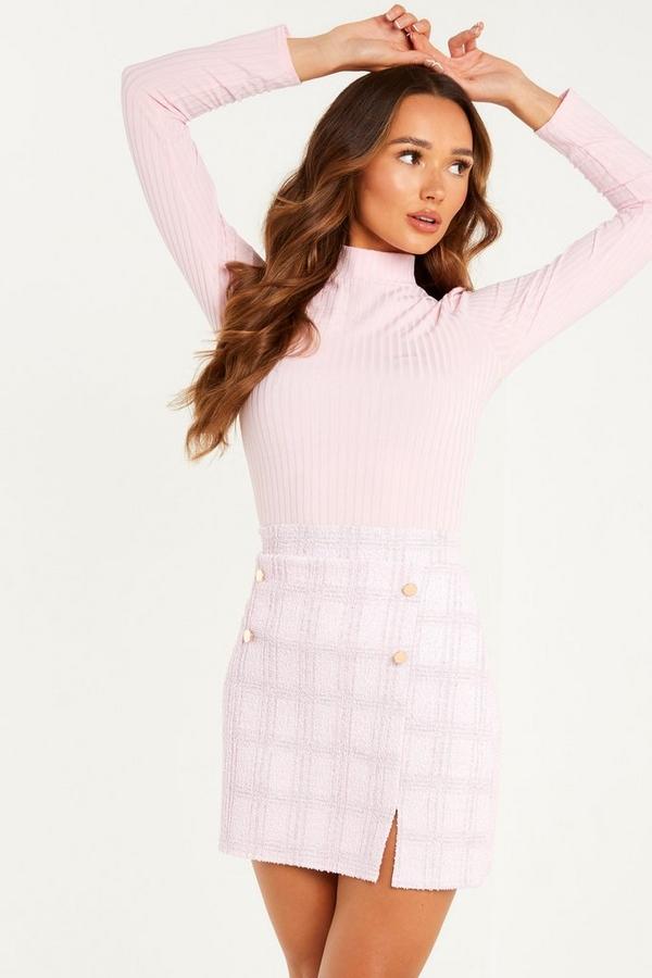 Pink Check Mini Skirt