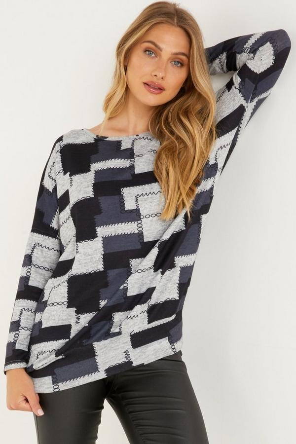 Grey Patch Print Knit Top