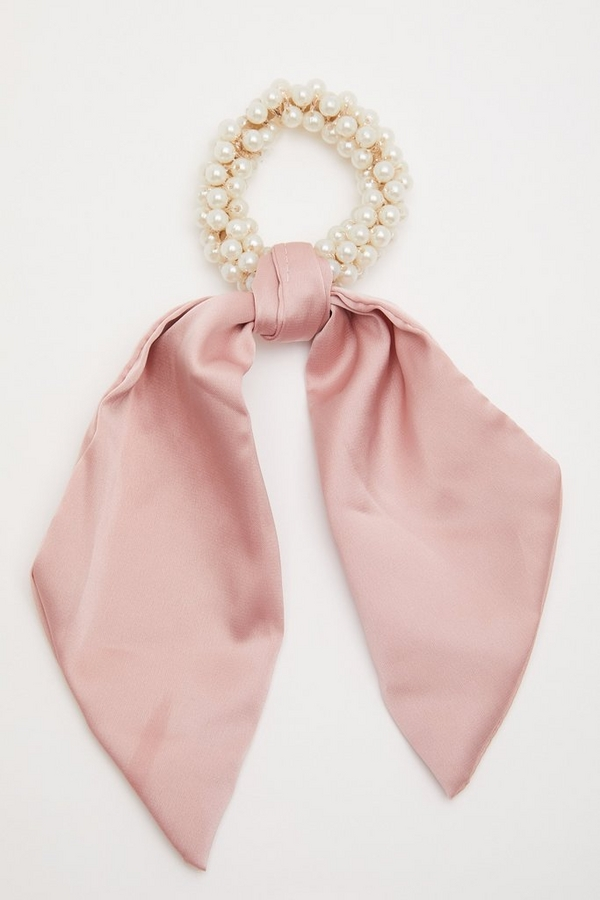 Pink Satin Scrunchie