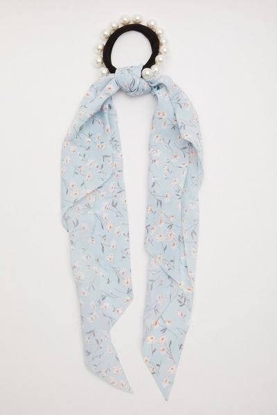 Blue Floral Hair Tie