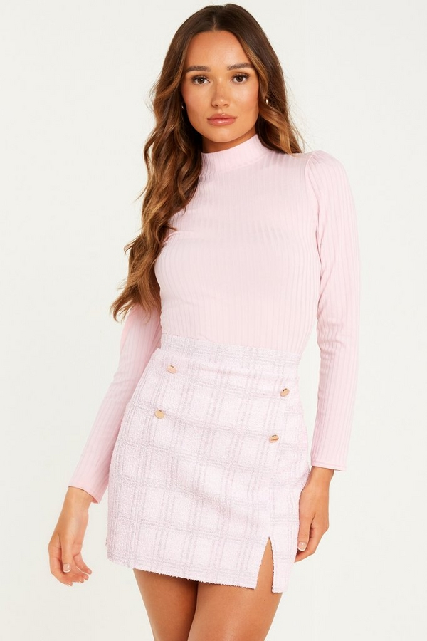 Pink Ribbed Turtle Neck Top