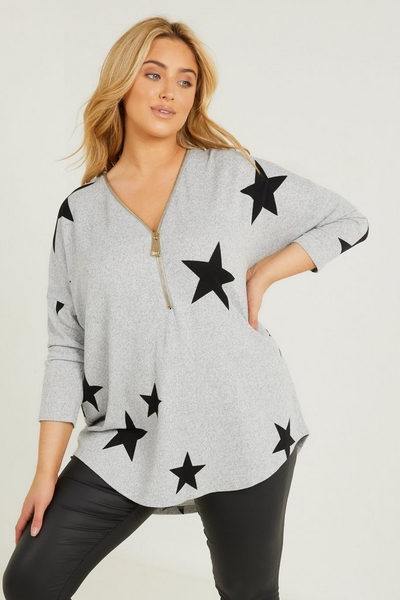 Curve Grey Star Print Knit Top