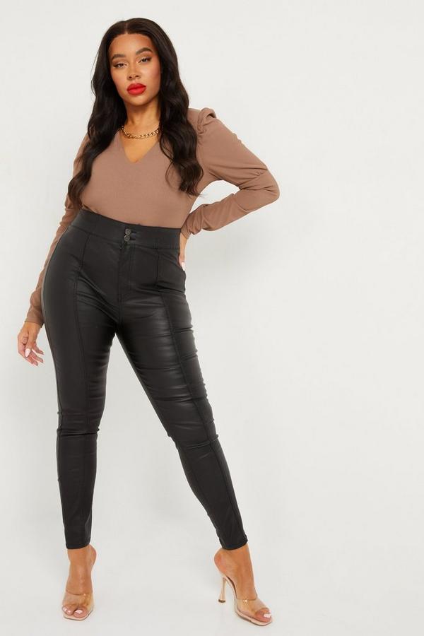 Curve Faux Leather High Waist Trouser