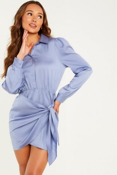 Blue Satin Wrap Shirt Dress