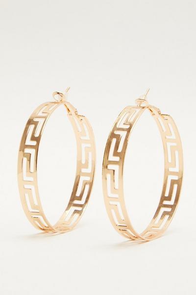 Gold Aztec Hoop Earrings