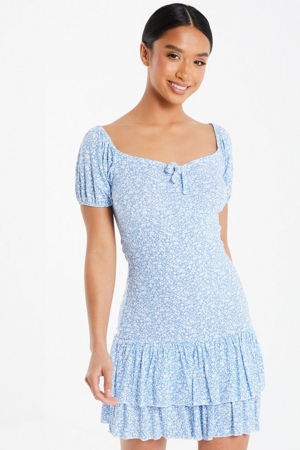 Petite Blue Floral Mini Dress