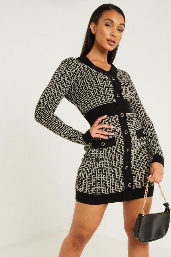 Black Knitted Glitter Dress