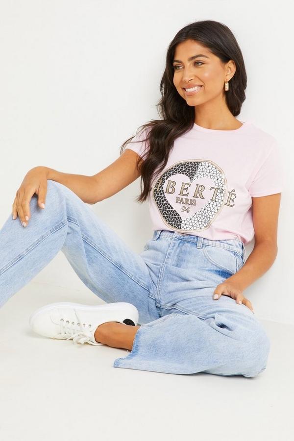 Pink Slogan T Shirt