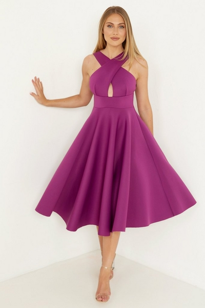Purple Midi Skater Dress