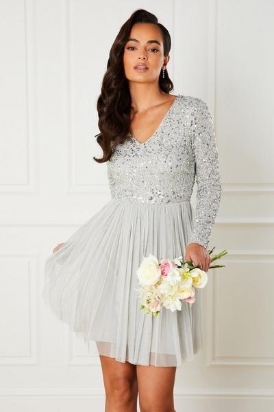 Grey Sequin Long Sleeve Dress