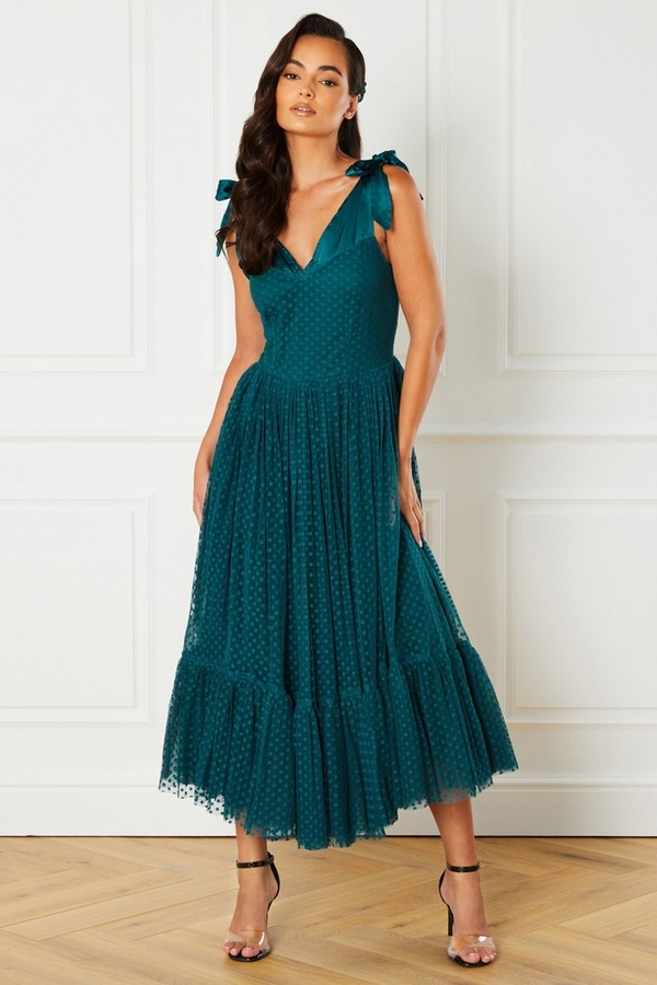 Green Tulle Polka Dot Midi Dress