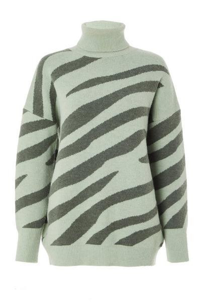 Sage Zebra Print Knitted Jumper