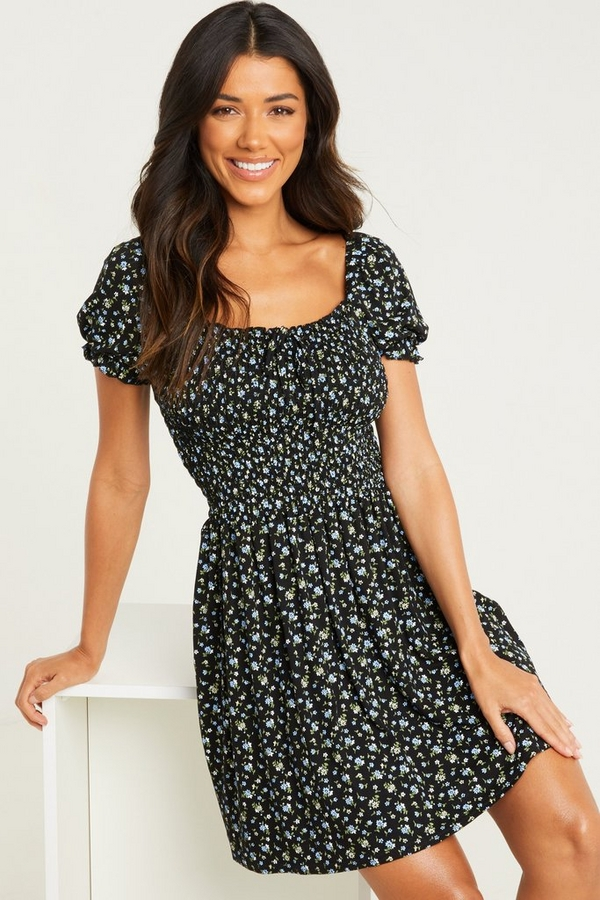 Black Floral Puff Sleeve Dress