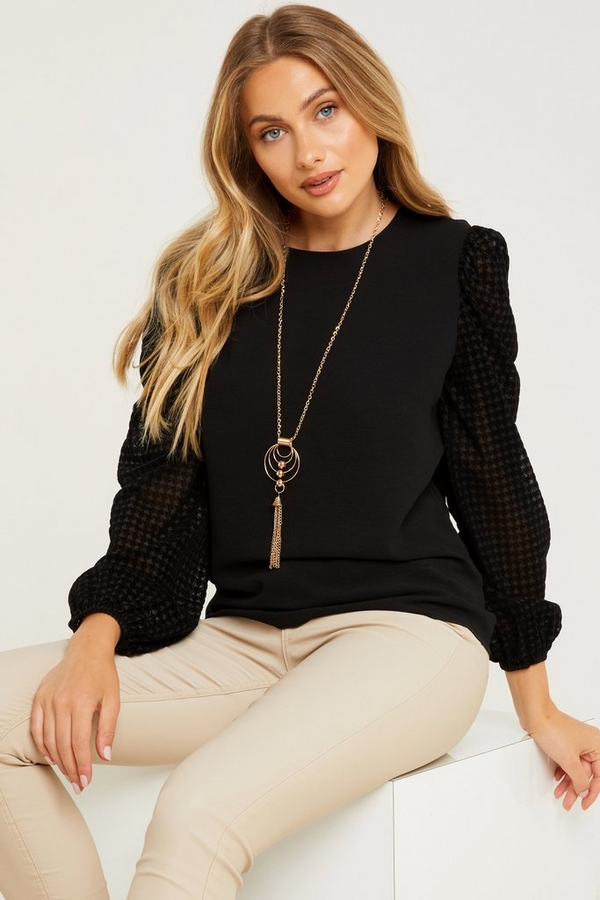 Black Dog Tooth Necklace Top