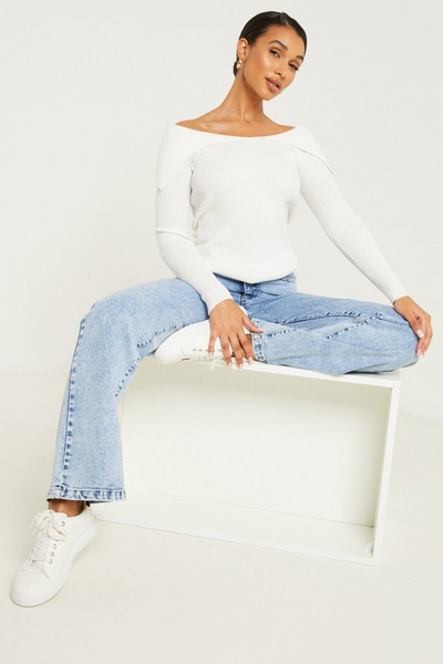 White Light Knit Bardot Top
