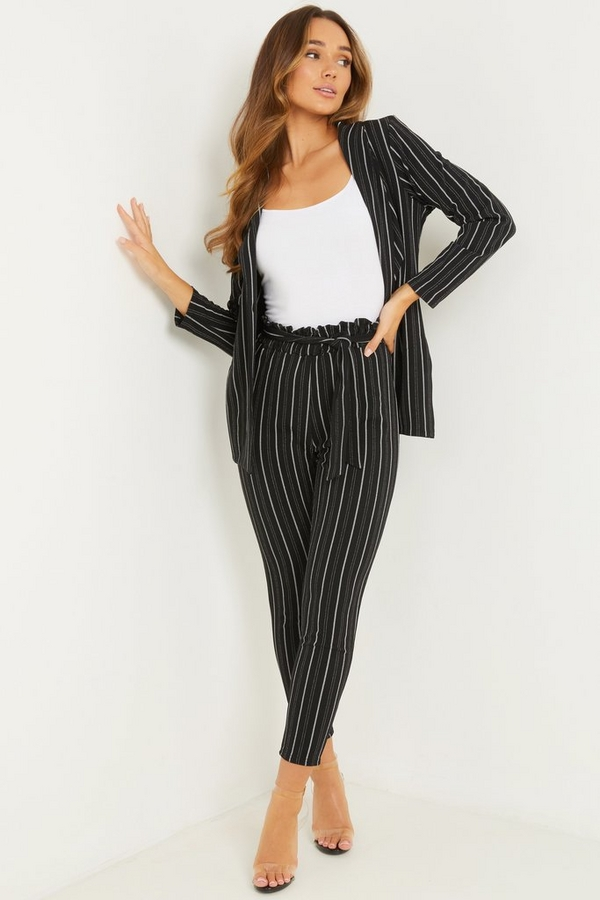 Black Stripe Paper Bag Trousers