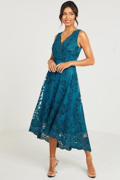 Teal Embroidered Dip Hem Dress