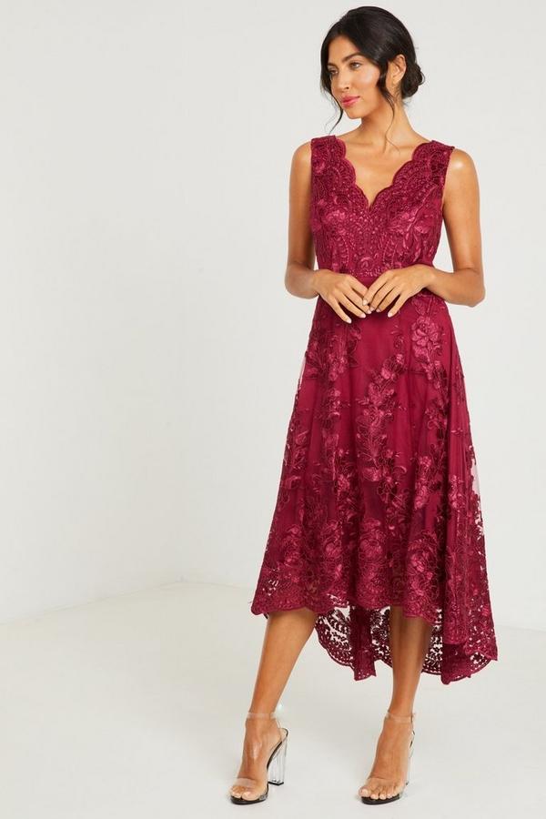 Berry Embroidered Dip Hem Dress