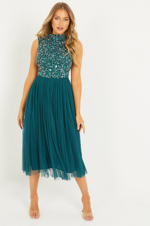 Green Sequin High Neck Midi Dress