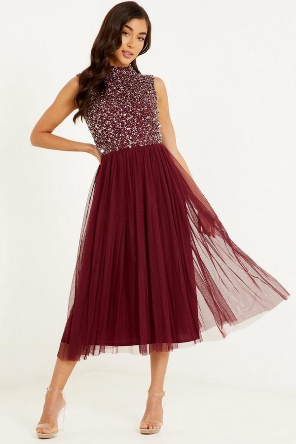 Berry Sequin High Neck Midi Dress
