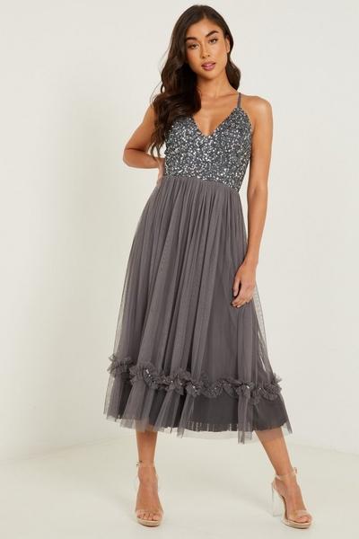 Grey Sequin V Neck Midi Dress