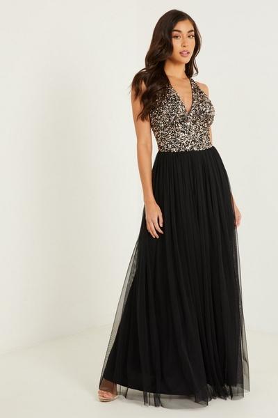 Black Sequin V Neck Maxi Dress
