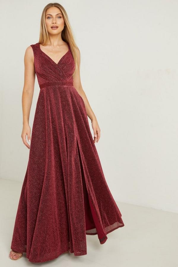 Berry Wrap Maxi Dress With Split