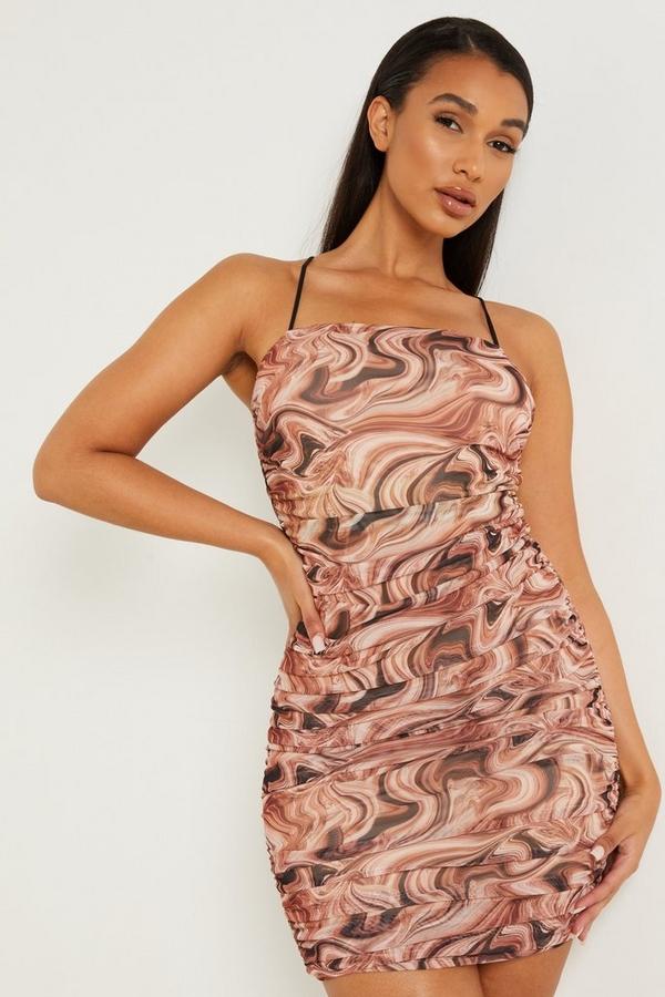 Brown Marble Print Ruched Mini Dress