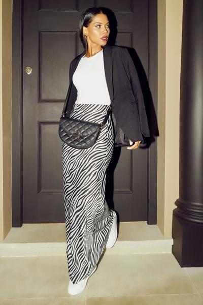 Sage Animal Print Satin Midaxi Skirt
