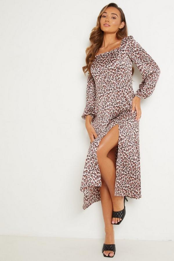 Pink Animal Print Midi Dress