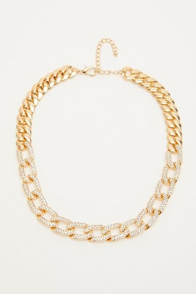 Gold Diamante Chain Necklace