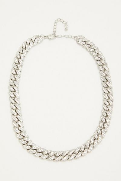 Silver Diamante Chain Necklace