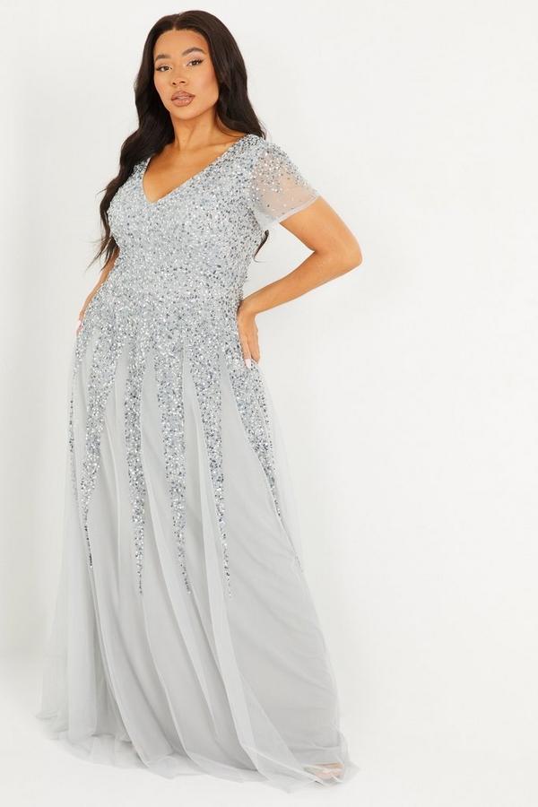 Curve Grey Sequin Embellished Maxi Dress