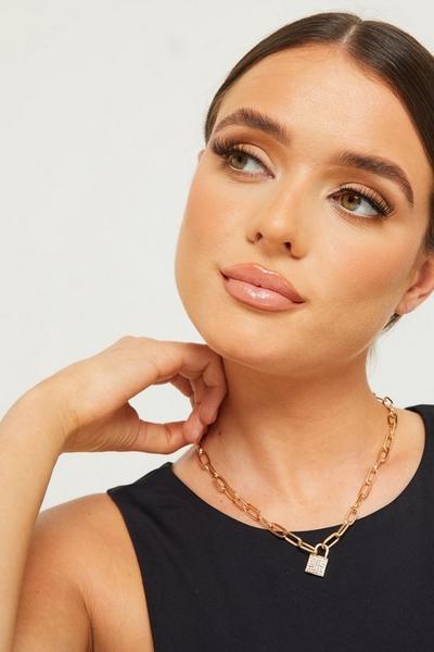 Gold Diamante Padlock Necklace