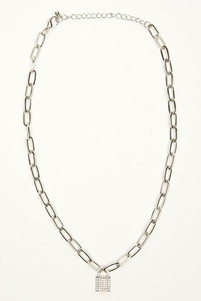 Silver Diamante Padlock Necklace