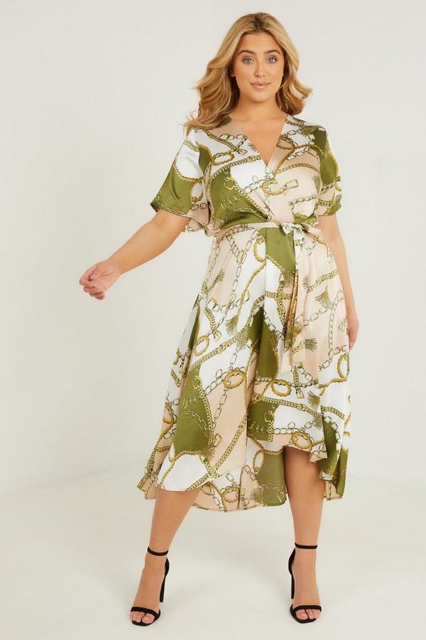 Curve Khaki Chain Print Midi Dress