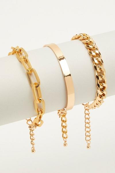 3 Piece Gold Bracelet Set