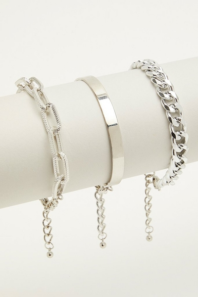3 Piece Silver Bracelet Set