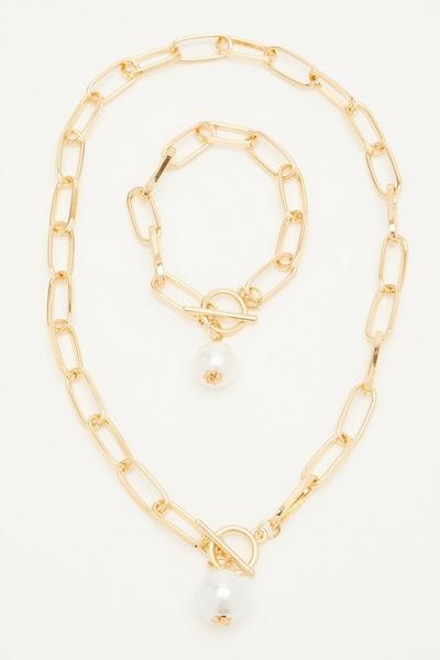 Gold Pearl Necklace and Bracelet Set