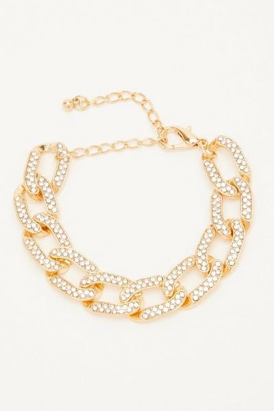Gold Diamante Chain Bracelet