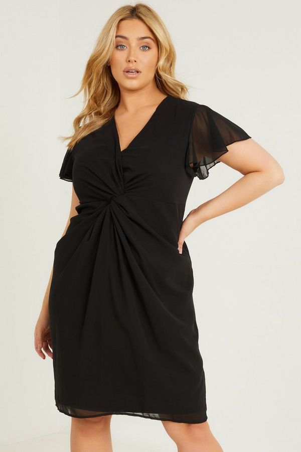 Curve Black Knot Front Dress