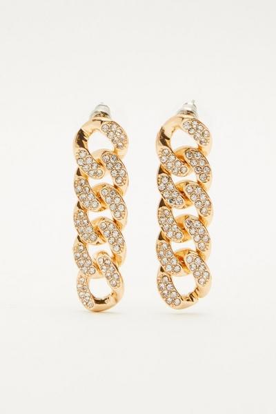 Gold Diamante Chain Earrings