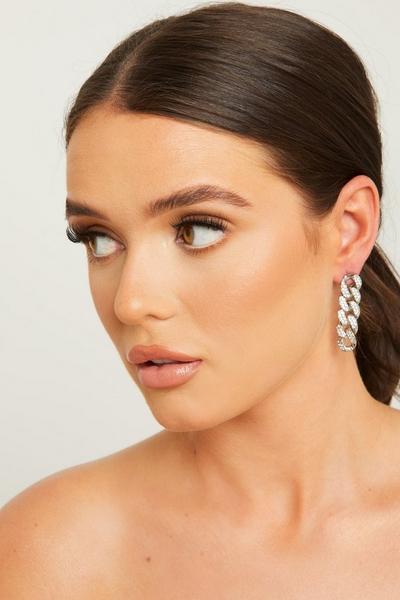Silver Diamante Chain Earrings