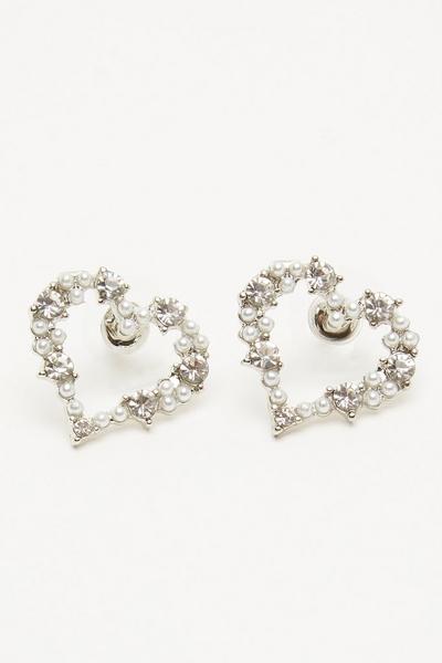 Silver Diamante Heart Stud Earring
